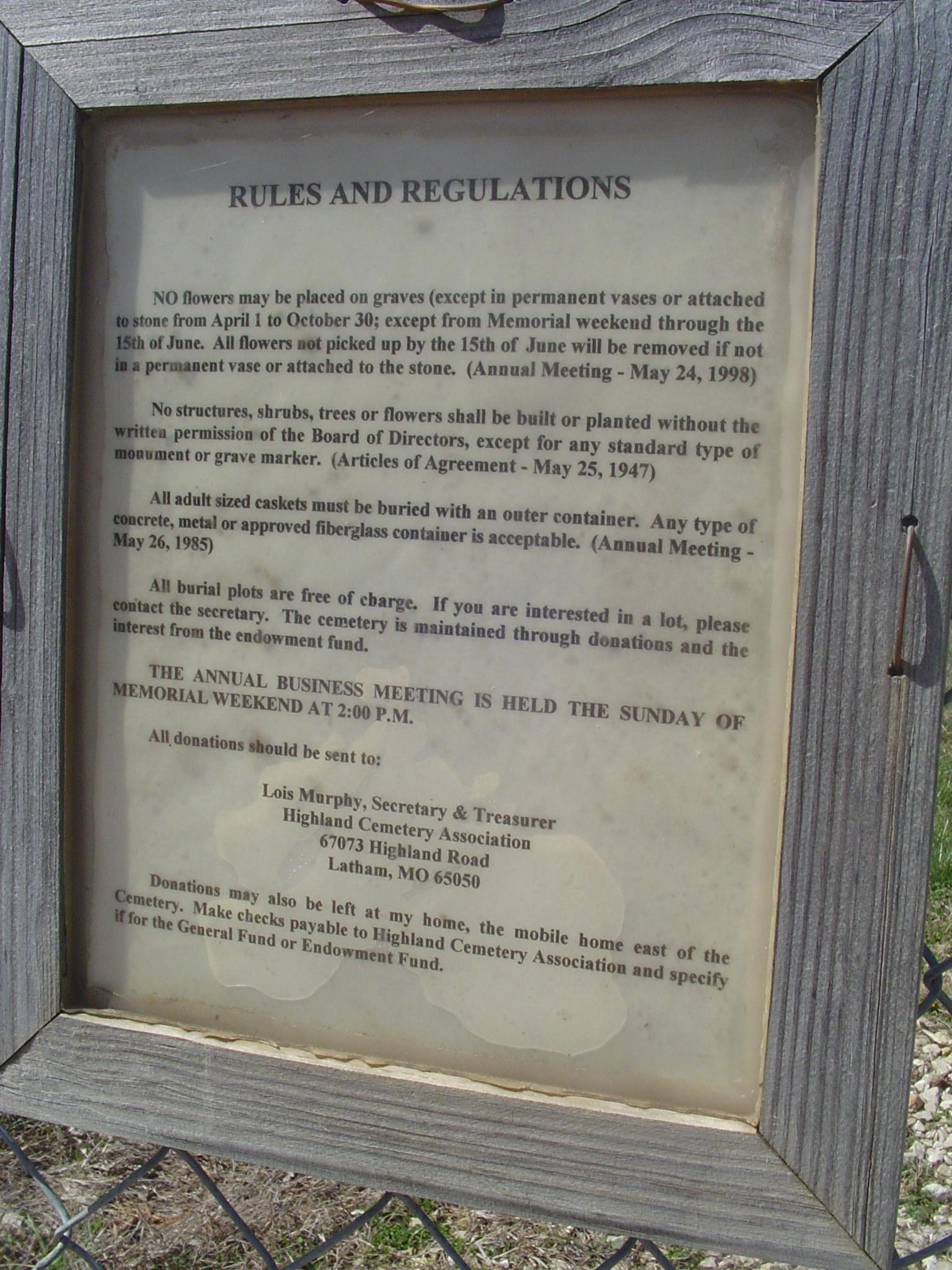 Highland Church Cemetery Listings